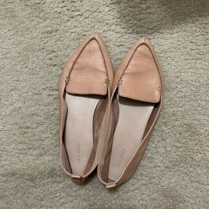 Leather beige flats